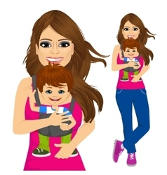 mother holding little boy with baby carrier vector image vector image