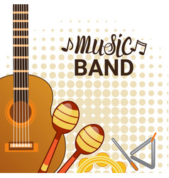 Music band instruments set banner musical concert vector