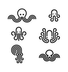 Octopus logo set vector