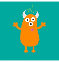 Orange monster with eyes horns tongue electricity vector image