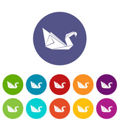 Origami swan icons set color vector