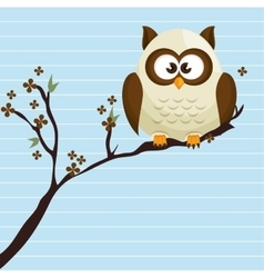 owl white tree leaves white vector image