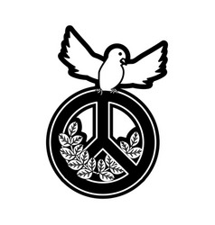 peace dove with peace symbol vector image
