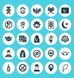 Ramadan icons set collection of malay travel vector