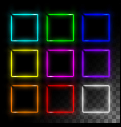 Realistic neon frame set square vector