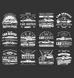 Retro vehicles car tuning repair service icons vector