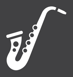 Saxophone glyph icon music and instrument vector