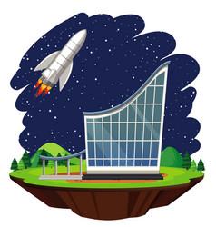 Scene with spaceship flying in sky vector