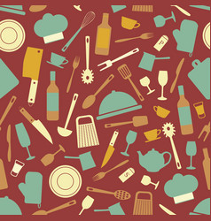 Seamless pattern with kitchen items vector
