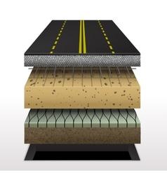 Section asphalt road vector