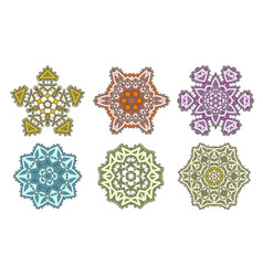 set ethnic fractal mandala meditation looks vector image