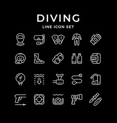 set line icons diving vector image