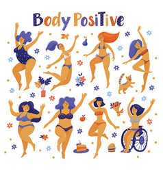 set of body positive happy women dancing in bikini vector image