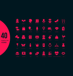 Set simple icons womens day vector