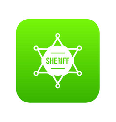 sheriff badge icon digital green vector image