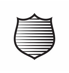 Shield with horizontal stripes icon simple style vector