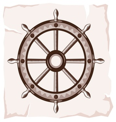 Ship wheel retro resize vector
