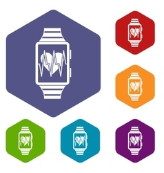 Smartwatch with sport app icons set vector image