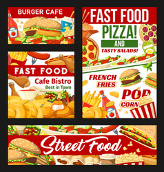 street fast food dishes banners vector image