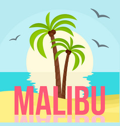 Sunset at malibu beach background flat style vector