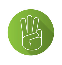 Three fingers up flat linear long shadow icon vector