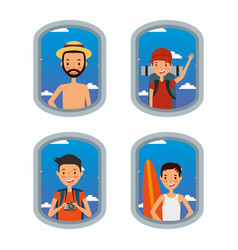 travelers men airplane window tourist vacation set vector image