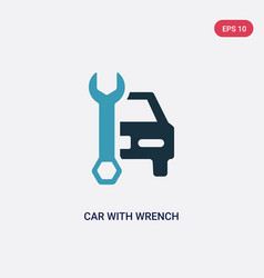 two color car with wrench icon from mechanicons vector image