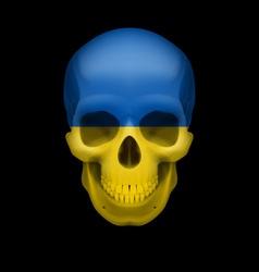 Ukrainian flag skull vector