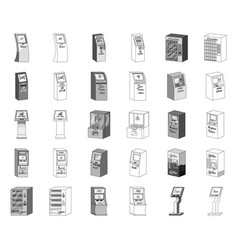 Variety of terminals monochromeoutline icons in vector