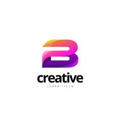 vibrant trendy colorful creative letter b logo vector image