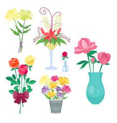 vintage floral bouquet garden flower vector image