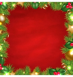 Vintage Red Background With Christmas Border vector image