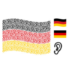 waving germany flag collage of ear icons vector image