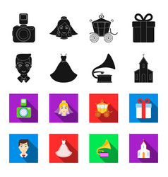 wedding dress groom gramophone church wedding vector image
