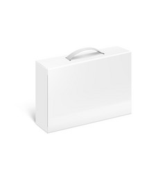 white blank plastic or carton case box with handle vector image