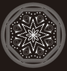 white mandala on black background vector image