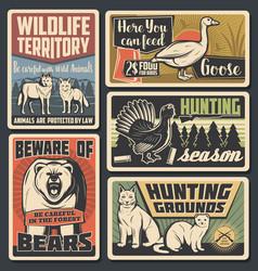Wild animals natural park wildfowl hunting season vector