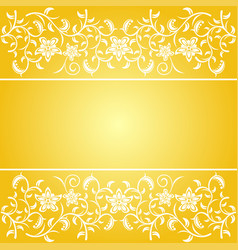 Yellow background baroque with flowers vector