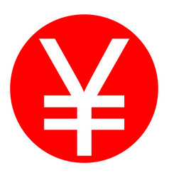 yen sign white icon in red circle on vector image vector image