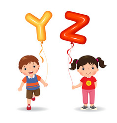 cartoon kids holding letter yz shaped balloons vector image