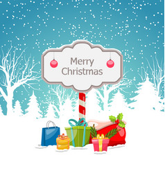 christmas winter landscape with wooden signboard vector image