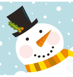 Cute happy Snowman vector image vector image