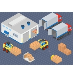 Loading or unloading a truck in the warehouse vector image vector image