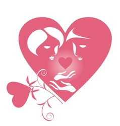 lovers with a heart vector image