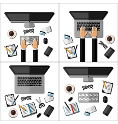 Set of modern business office workspaces vector image vector image