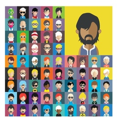 Set of people icons in flat style with faces 14 a vector image vector image