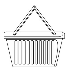 shopping basket icon in monochrome silhouette vector image vector image
