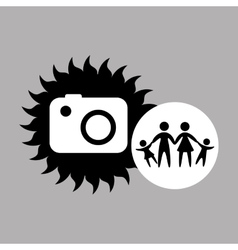 Silhouette family vacation photo camera vector