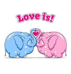 baby elephant in love on white vector image