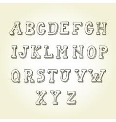 Hand drawn font retro alphabet vintage style vector image vector image
